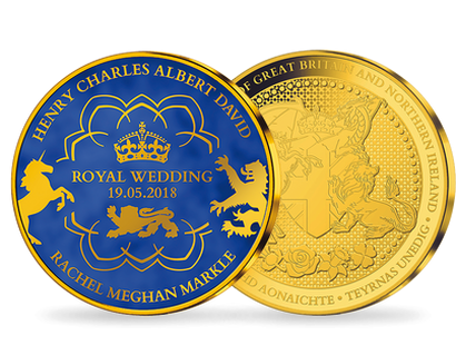 Royal Wedding - Prince Harry & Meghan Markle Gold Plated Blue Commemorative