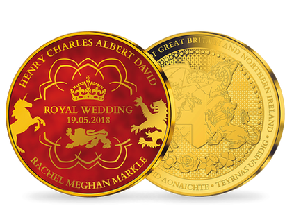 Royal Wedding - Prince Harry & Meghan Markle Gold Plated Red Commemorative