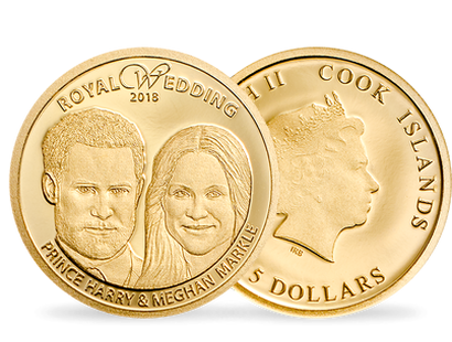 Prince Harry & Meghan Markle 2018 Royal Wedding $5 Gold Coin