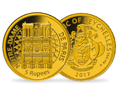 Notre Dame 2017 5 Rupee Proof Gold Coin