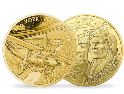 Aviation & History - Spirit of St Louis 2017 €50 1/4 oz Gold Proof Coin