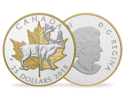 Timeless Icons: Caribou 2018 Gold Plated Piedfort 1oz Silver Coin