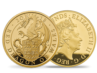 The Queen's Beasts - The Red Dragon of Wales 2018 5oz Gold Proof Coin