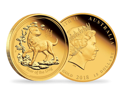 Australian Lunar Series -  Year of the Dog 2018 1/10 oz Gold Proof Coin