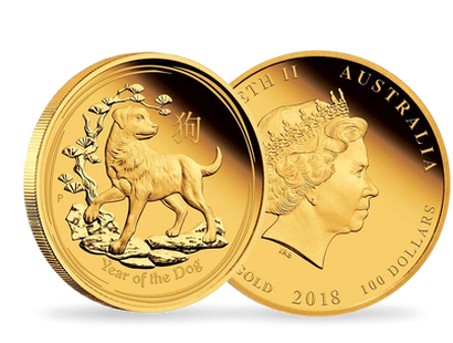 Australian Lunar Series II - Year of the Dog 2018 1oz Gold Proof $100 Coin