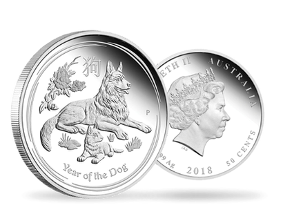 Australian Lunar Series II - Year of the Dog 2018 1/2 oz Silver Proof 50c Coin