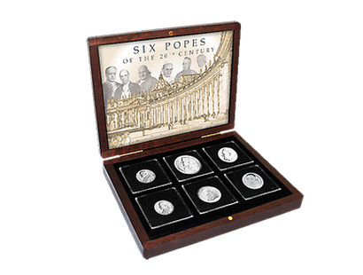 Six Popes of the 20th Century Silver Coin Collection