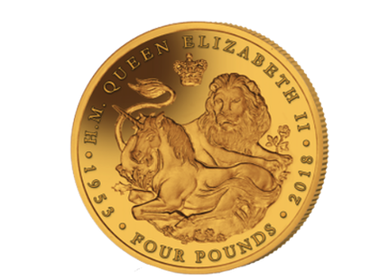 The Lion & The Unicorn 2018 Gold Proof 1/25 oz £4 Coin