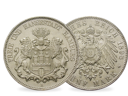 Deutsches Reich/Hamburg 5 Mark 1891-1913