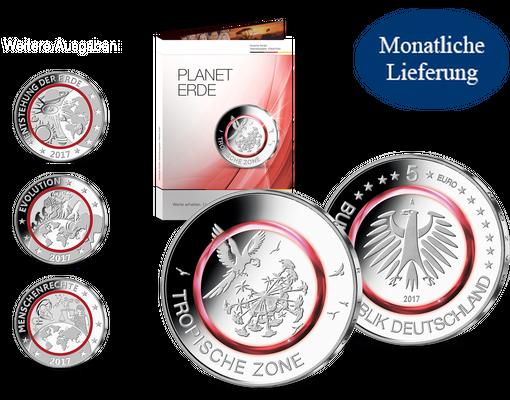 5 Euro Münze Mit Rotem Polymer Ring Und Offizielle Sonder