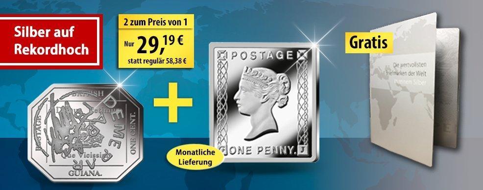 MDM - Silberbriefmarken zum 180. Jubiläum der Briefmarke