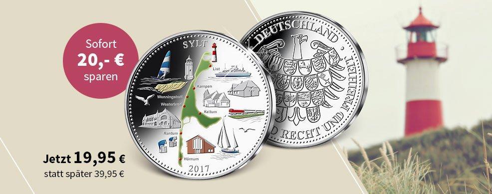 MDM - Deutsche Inseln auf farbveredelten Gedenkprägungen aus echtem Silber