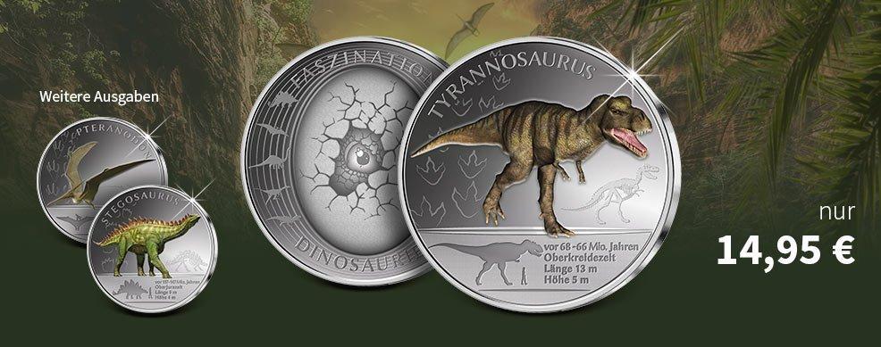MDM - Faszinierende Dinosaurier auf vollversilberten Gedenkprägungen