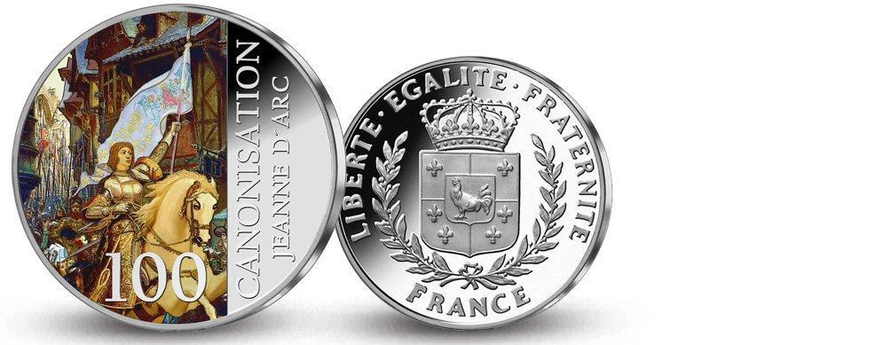 MDM - Frappe en argent colorisé  «100ème anniversaire de la  Canonisation de Jeanne d'Arc»