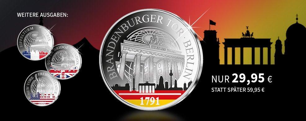 MDM - Internationale Wahrzeichen – Reinstes Silber mit aufwendigem Farbdruck – Startlieferung: Brandenburger Tor!