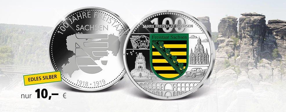 MDM - Silberprägung 100 Jahre Freistaat Sachsen