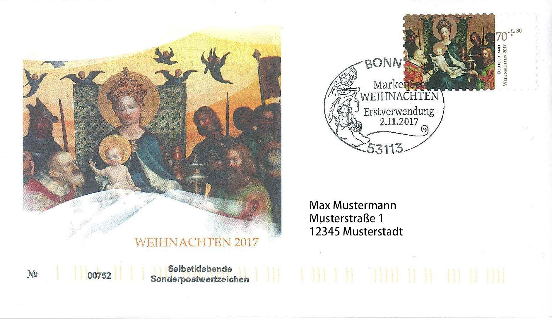 Ersttagsbrief Weihnachten 2017 Bonn