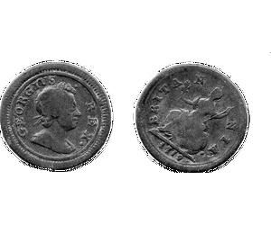 Farthing von 1719 Vorder- und Rückseite