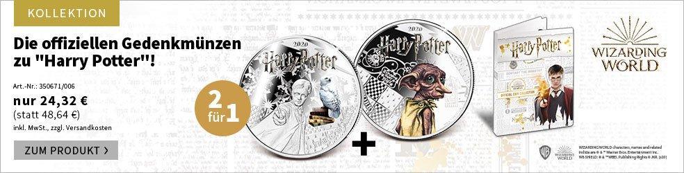 2 Münzen zum Preis von 1: Die offiziellen Gedenkmünzen zu ''Harry Potter''!
