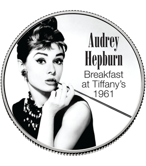 """Hollywood-Legenden"" – die Kollektion farbveredelter Half-Dollar-Münzen – Ihre Startlieferung: ""Audrey Hepburn – Breakfast at Tiffany's (1961)""!"