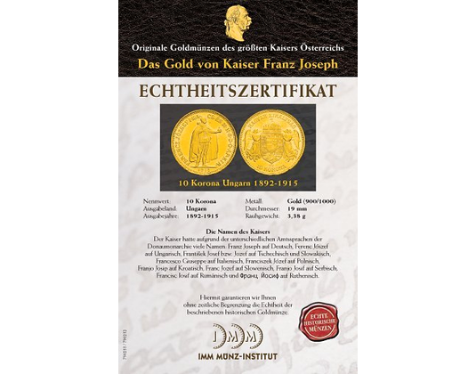 Das Gold Von Kaiser Franz Joseph I Imm Münz Institut