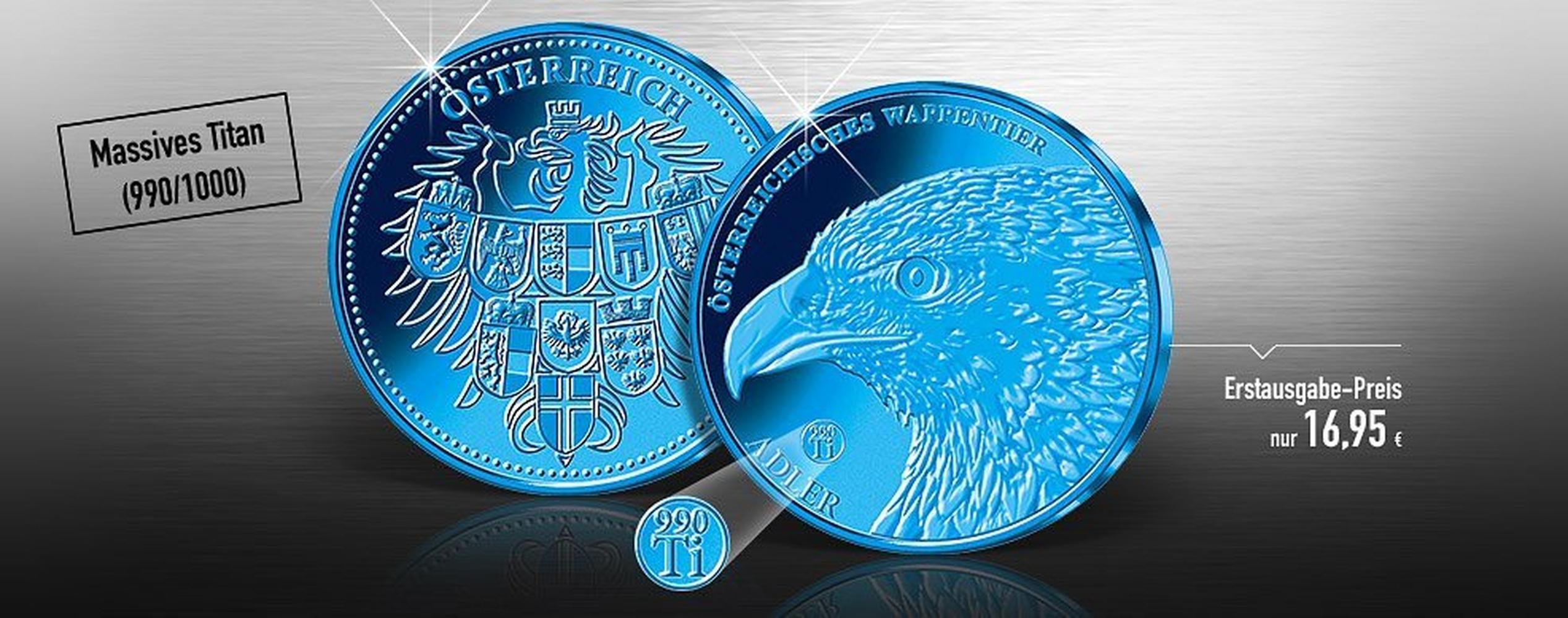 Sonder Prägung Aus Blauem Titan Zu Ehren Unseres Wappenadlers Imm
