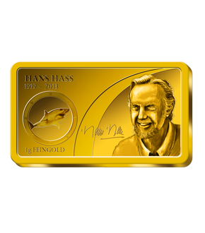 ''Hans Hass'' geehrt in reinem Gold in seltener Barrenform