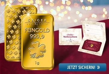 Feingold-Barren mit Geschenkverpackung