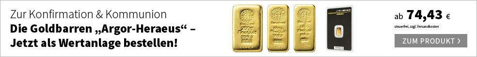 Die Goldbarren ''Argor-Heraeus'' - Jetzt als Wertanlage bestellen!