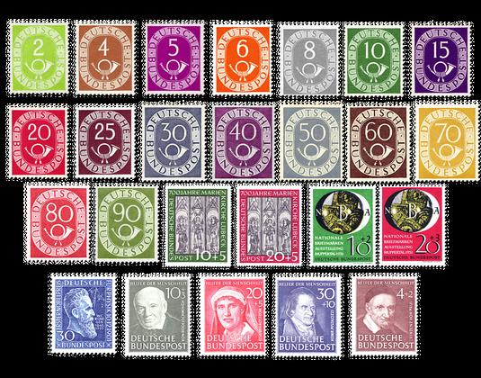 Briefmarken Jahrgang Deutschland 1951 Postfrisch Oder Gestempelt