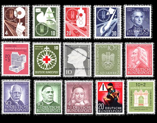 Briefmarken Jahrgang Deutschland 1953 Postfrisch Oder Gestempelt