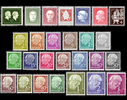 Briefmarken Jahrgang Deutschland 1954 Postfrisch Oder Gestempelt