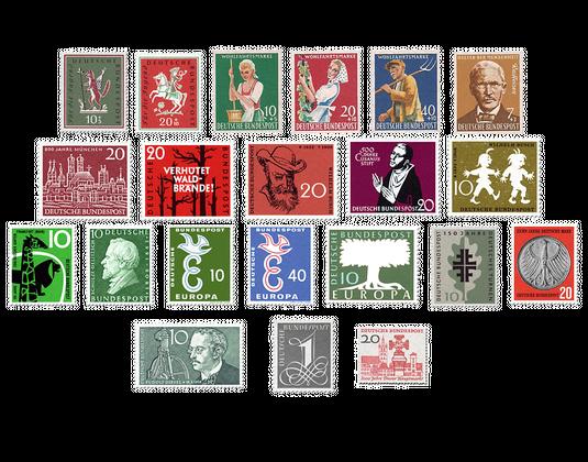 Briefmarken Jahrgang Deutschland 1958 Postfrisch Oder Gestempelt