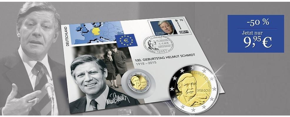 2 Euro Numisbrief 100 Geburtstag Helmut Schmidt Borekde
