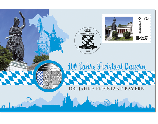 Numiskarte 100 Jahre Freistaat Bayern Mit Jubiläumsprägung In