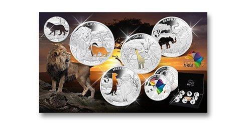 Silber-Gedenkmünzen im Komplett-Satz ''Shapes of Africa''