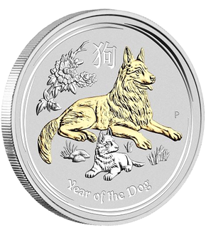 Australian Lunar Series II - Year of the Dog 2018 1oz Silver Proof Gilded $1 Coin
