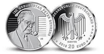 20 Euro Silbermünze 150 Geburtstag Peter Behrens