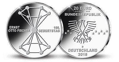 20 Euro Silbermünze 100 Geburtstag Ernst Otto Fischer