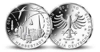 20 Euro Silbermünze 800 Jahre Hansestadt Rostock