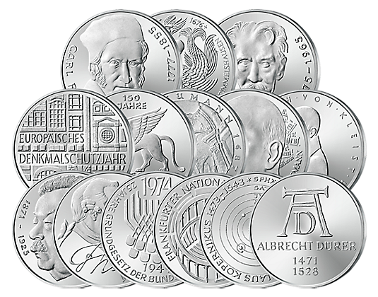 Die Letzten 14 Silber 5 Dm Münzen Brd St Münzen Günstigerde