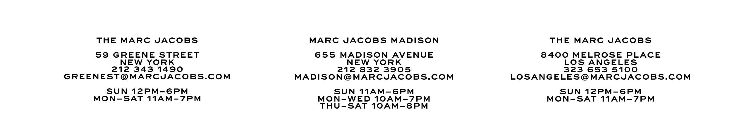 outlet store 200c6 ae219 Marc Jacobs New Stores | Official Site