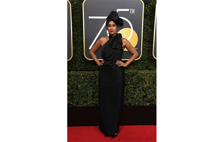Tracee Ellis Ross wears Marc Jacobs Spring 2018 in at the 75th Annual Golden Globe Awards