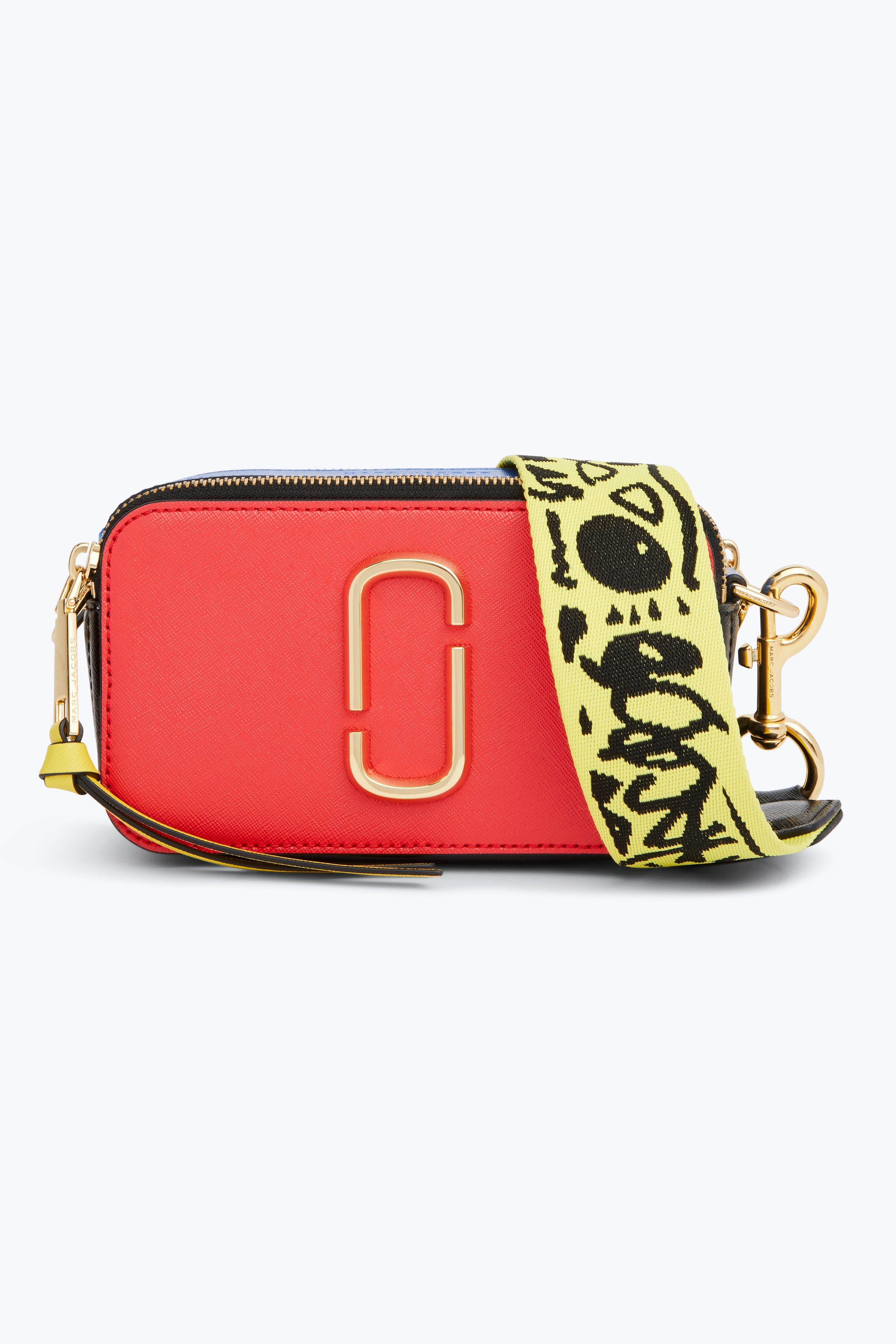 Snapshot Color-Block Textured-Leather Shoulder Bag, Poppy Red Multi