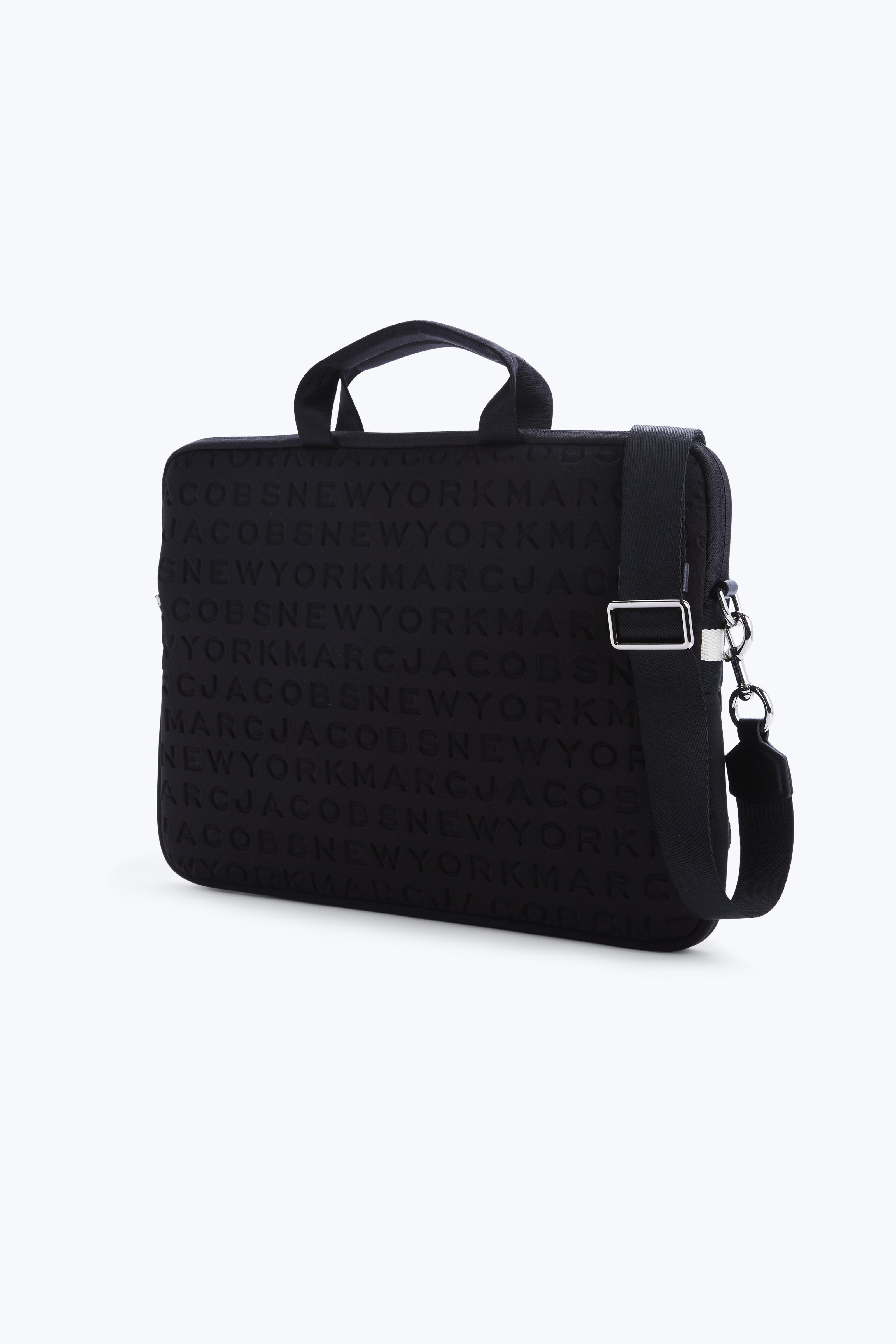 marc jacobs logo tech commuter 13 laptop case in black silver modesens. Black Bedroom Furniture Sets. Home Design Ideas