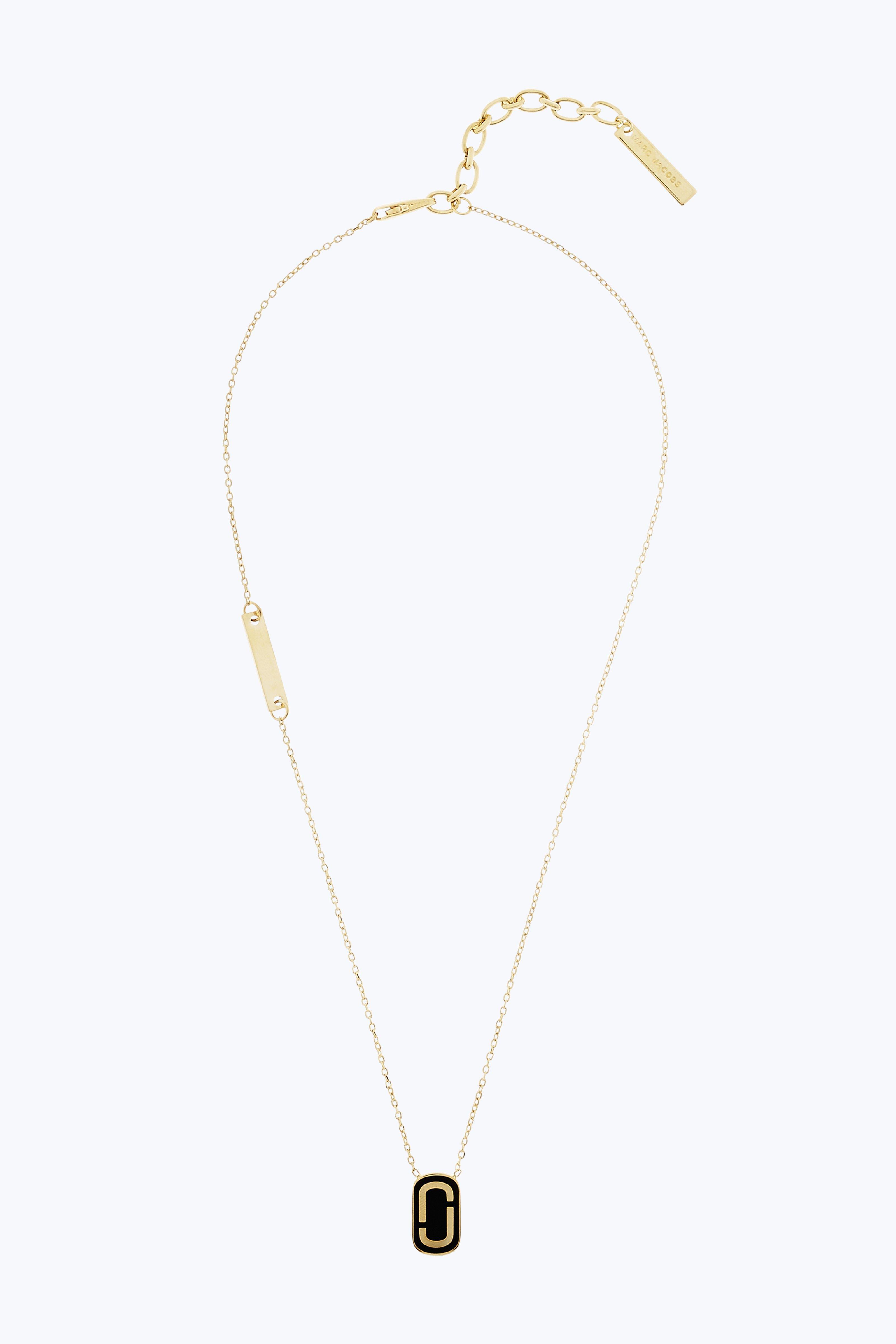 MARC JACOBS Double J Pendant Necklace in Black Gold