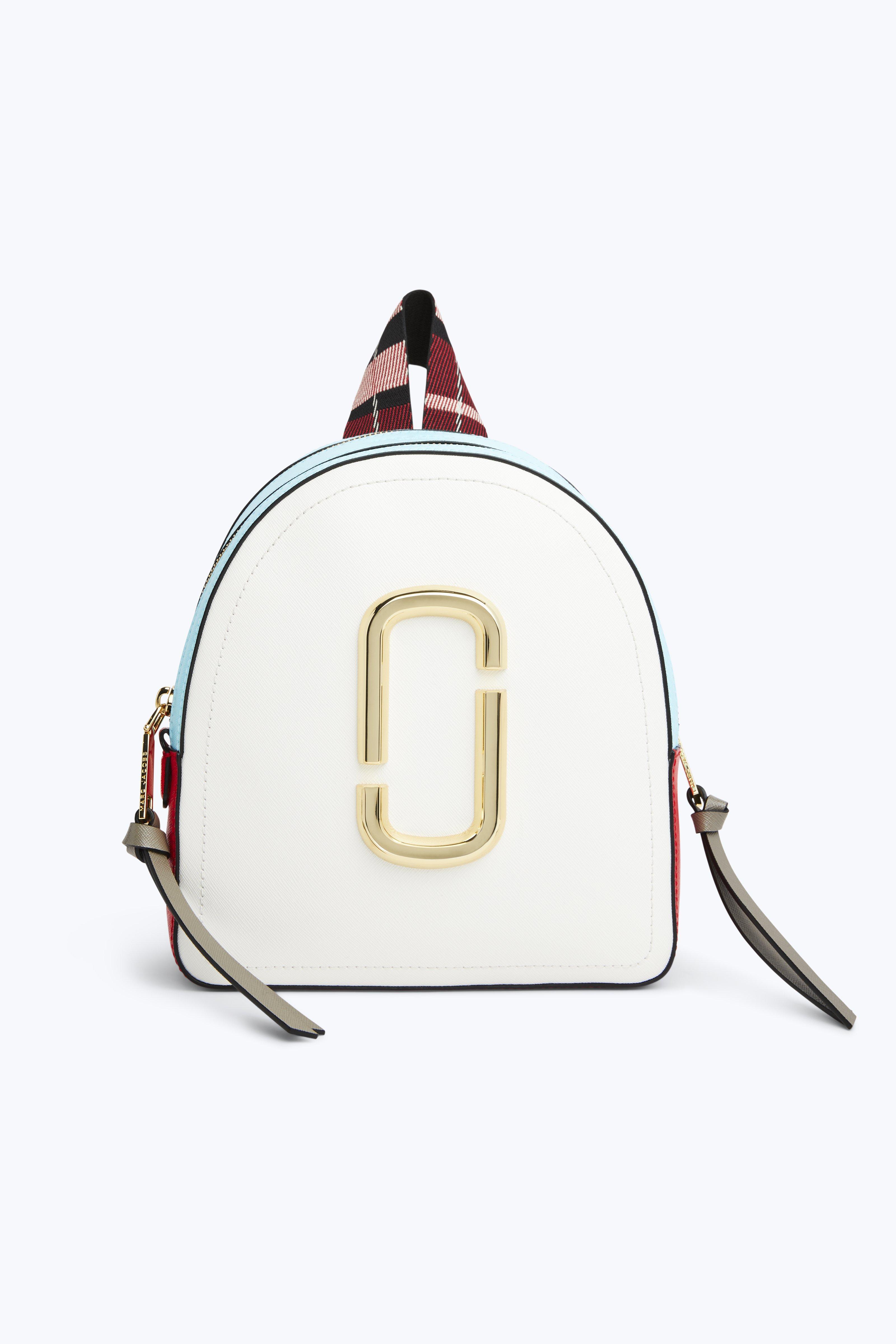 Pack Shot Leather Backpack - White, Porcelain Multi