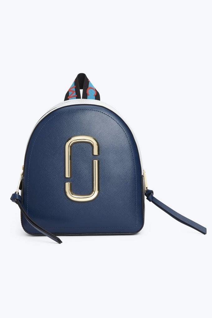 Pack Shot Color Block Leather Backpack in Blue Sea Multi