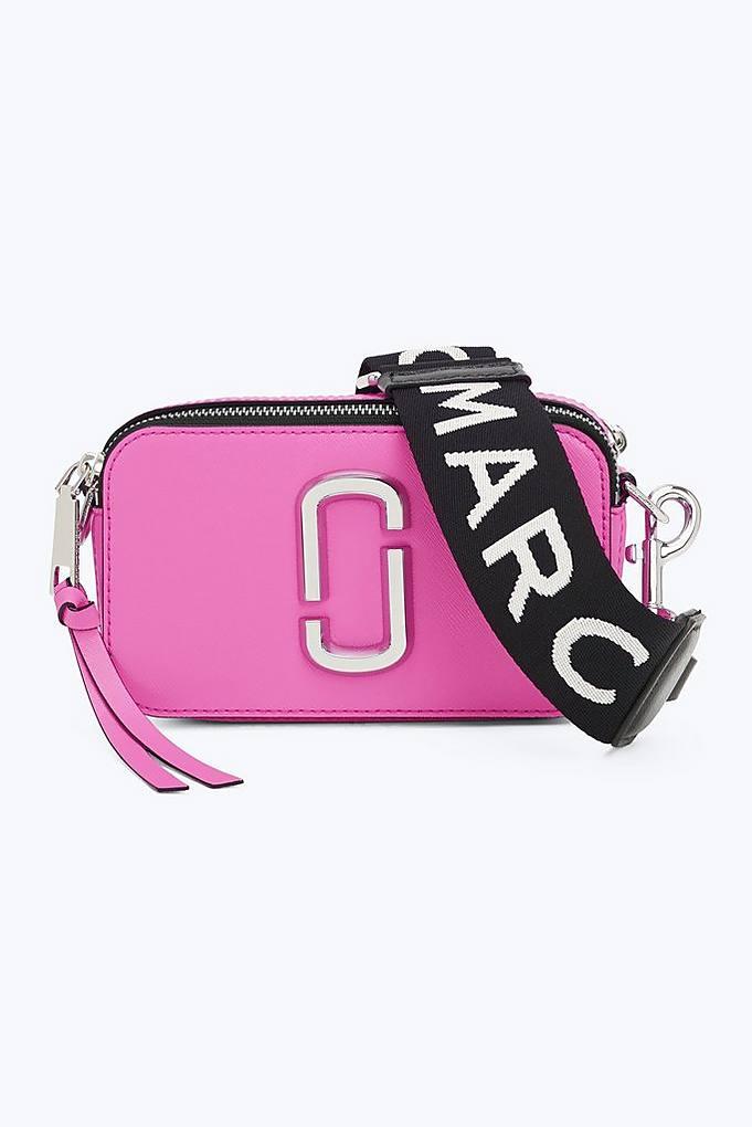 2ae8ab8e1f5 Marc Jacobs Fluorescent Snapshot Logo-Strap Saffiano-Leather Camera Bag In  Fuchsia
