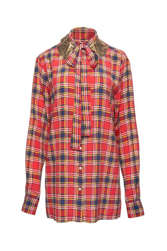 Oversized Silk Plaid Button Down Shirt